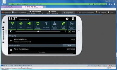 Windows PC browser remote support of Samsung smartphone