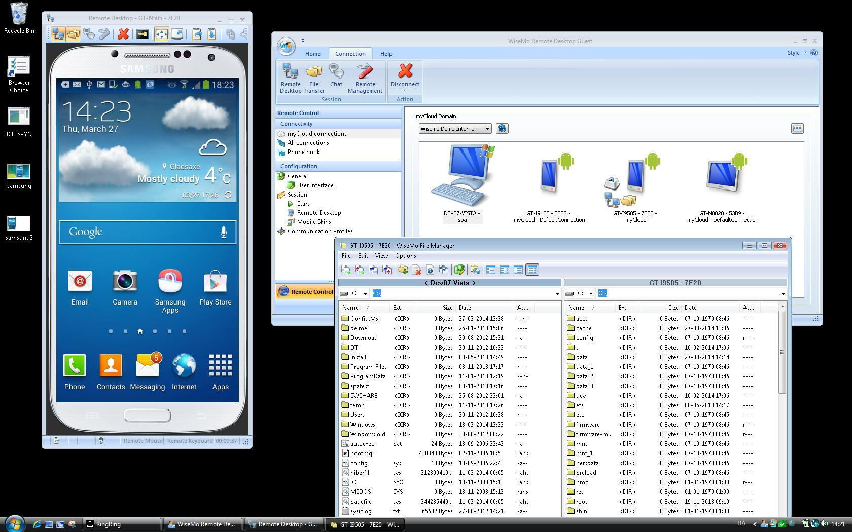 Windows to Android file transfer and remote control