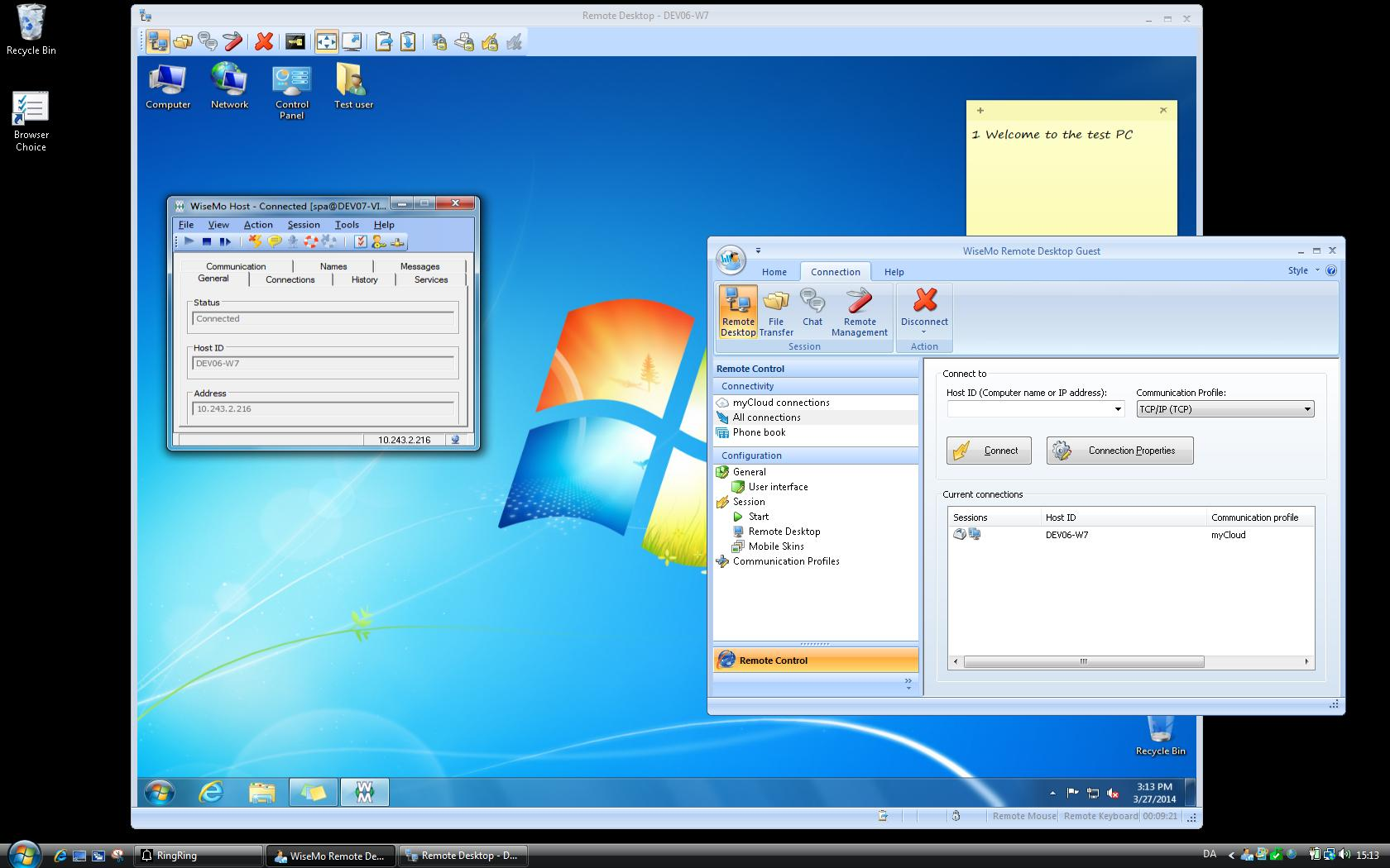 Windows to Windows remote control. The Guest module is controlling the Windows PC that runs the WiseMo Host module.