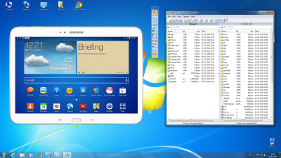 Windows PC that remote controls a Samsung Tablet. The remote controlled Tablet is shown as a picture on the windows desktop. A simultaneous split screen file transfer window permit easy transfer of files between PC and Android device.