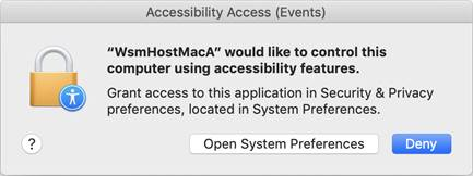 macOS Mojave Accessibility Access (Events) prompt for WiseMo Host